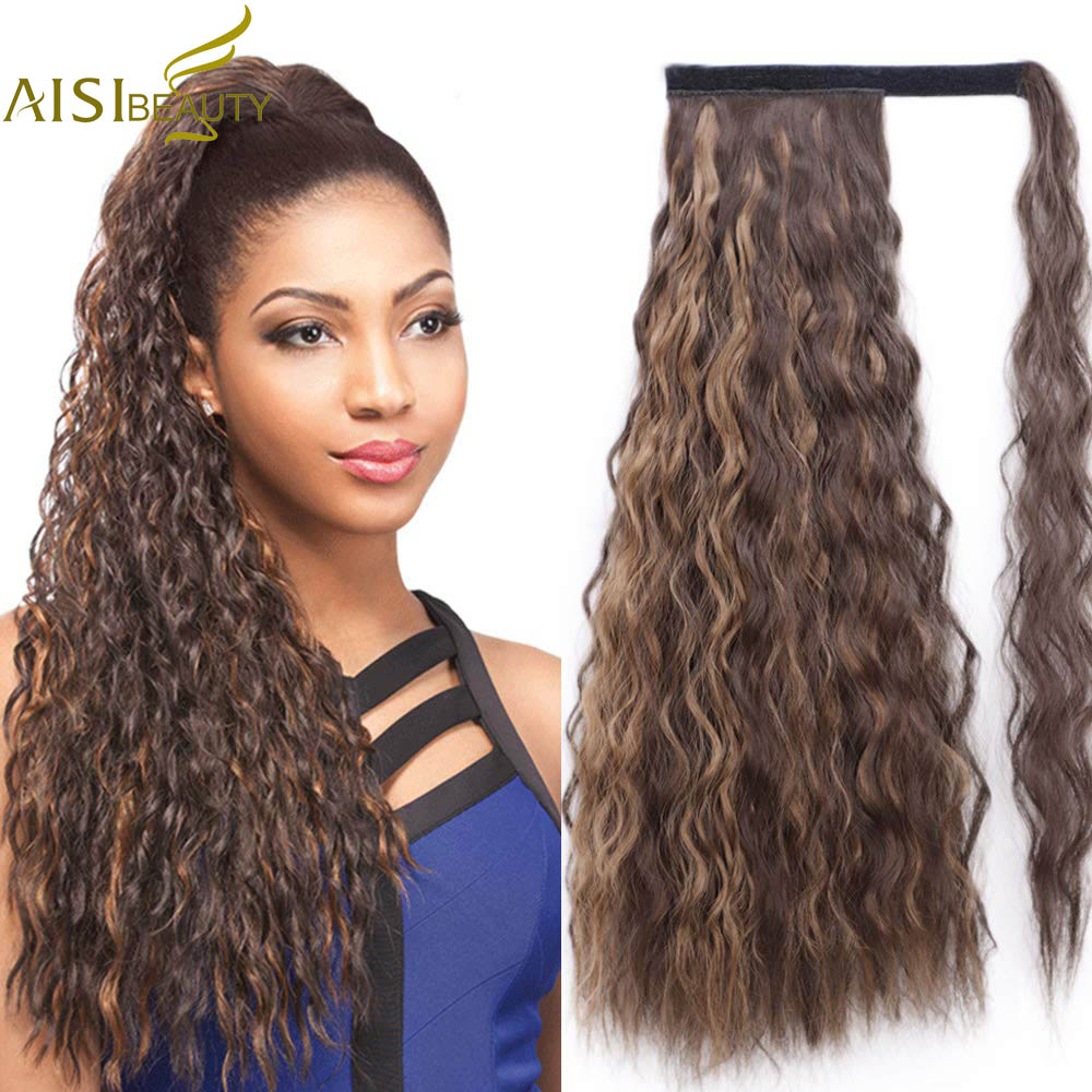 AISI Beauty Synthetic Ponytail Fake Hair Wavy Pony Tail Hair Extension Wrap Around Clip In Corn Hairpiece Brown Blonde Hair