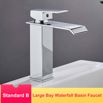 PVD Plating Basin Faucets Waterfall Bathroom Kitchen Sink Water Tap 304 Stainless Steel Deck Mount Hot Cold Water Mixer Taps 1
