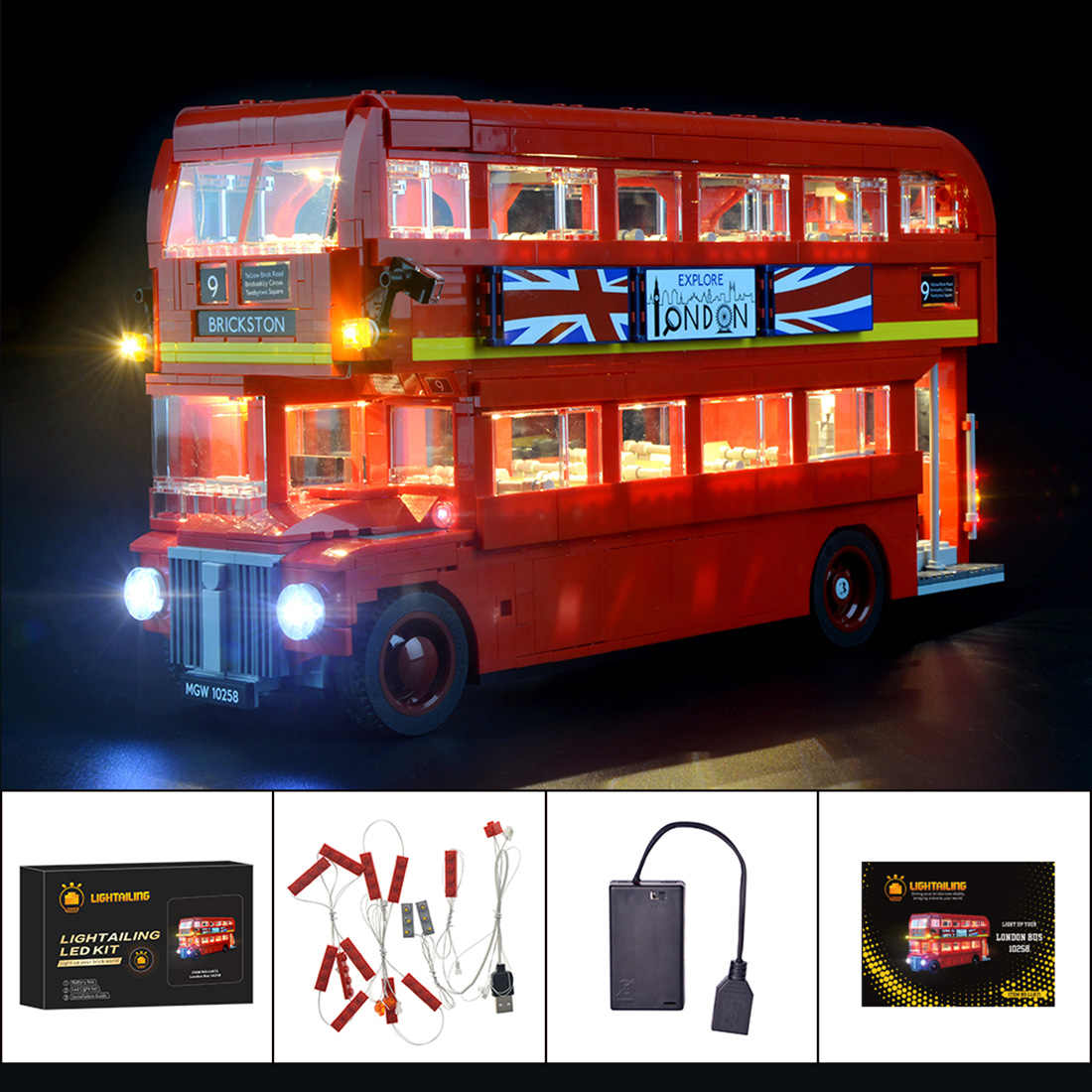 Bloques de construcción, Kit de iluminación LED para Creator Series London Bus 10258 (LED incluido solamente, sin Kit) para niños, juguetes educativos, regalo