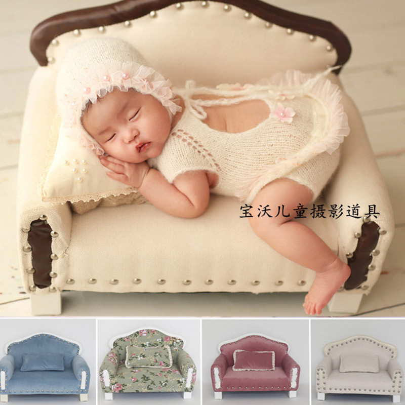 Newborn Photograph Props Boy Soft Velvet Fabric Printing Sofa Baby Photo Shoot Baby Prop Chair Newborn Fotografia Accessories