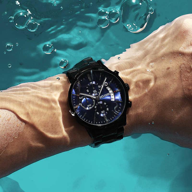 גברים של שעון יוקרה מותג BELUSHI גבוהה-סוף איש עסקים מקרית שעונים Mens עמיד למים ספורט קוורץ שעוני יד relogio masculino