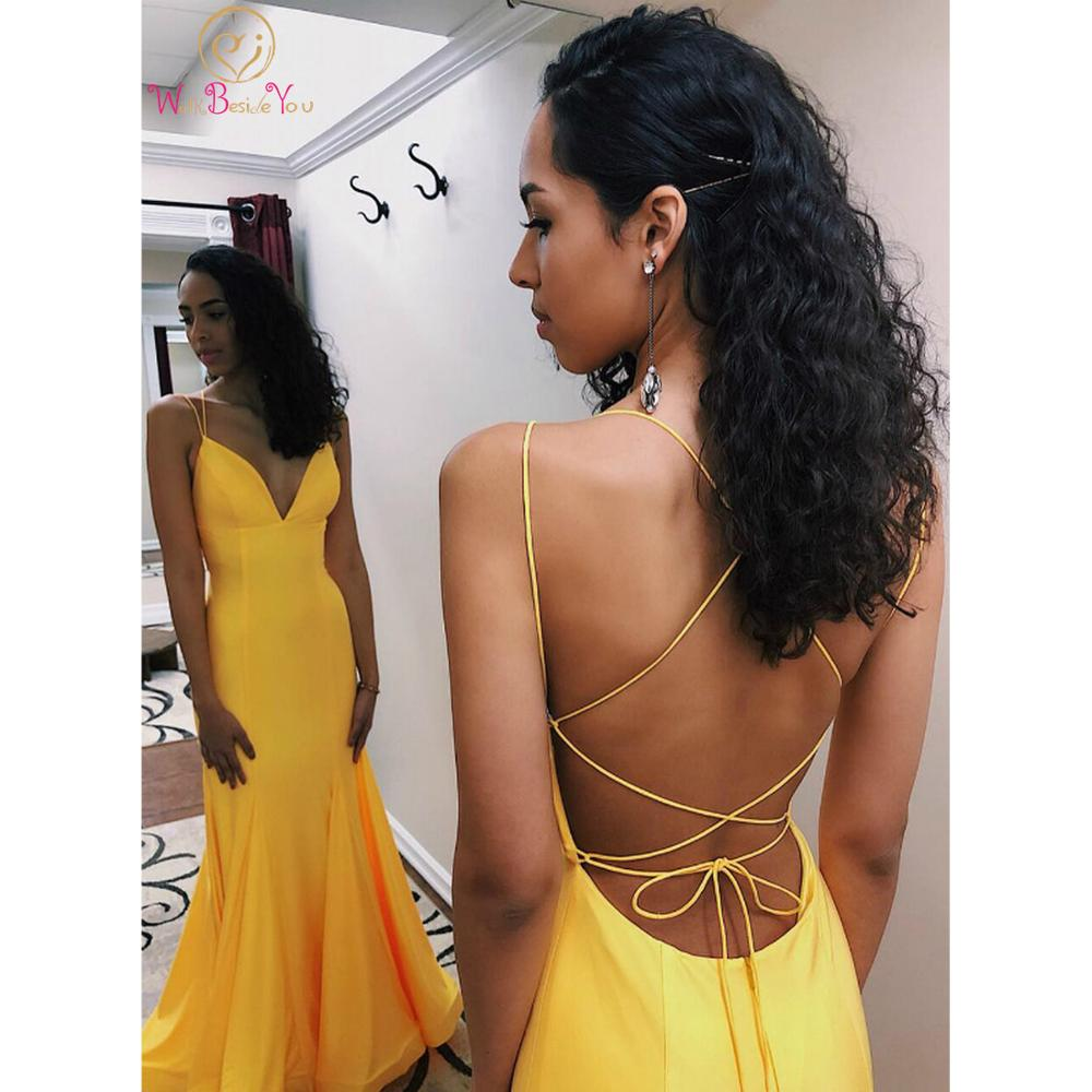 Walk Beside You Yellow Mermaid Prom Dresses 2020 Spaghetti Straps Cross Back V-neck Long Sweep Train Sleeveless Evening Gowns