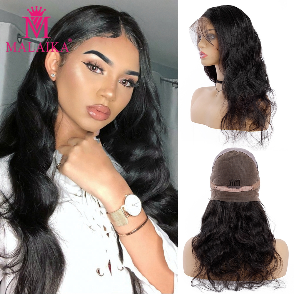 MALAIKA Body Wave Full Lace Human Hair Wigs With Baby Hair Pre Plucked Brazilian Full Lace Wigs For Black Women