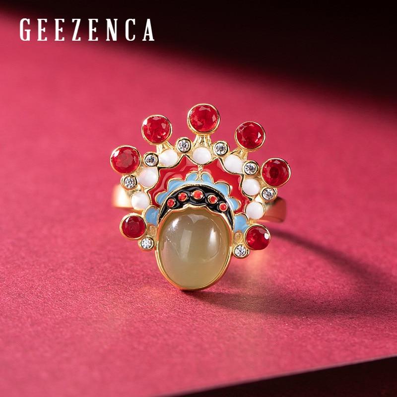 925 en argent Sterling plaqué or cloisonné Jade pékin opéra anneaux ouvert Vintage Style chinois anneau de pierres précieuses bijoux fins femmes