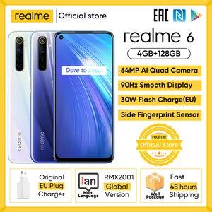 Realme 6 мобильный телефон 4GB 8GB Оперативная память 128 Гб Встроенная память 90 Гц ультра Дисплей Helio G90T 30 Вт мгновенная зарядка 4300 мА/ч, 64MP AI Камера ...