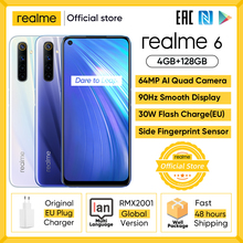 realme 6 Mobile Phone 4GB 8GB RAM 128GB ROM 90Hz Ultra Display Helio G90T 30W Flash Charge 4300mAh 64MP AI Camera Fingerprint ID
