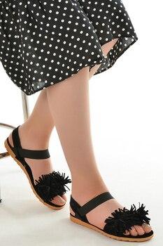 Ayakland 352-07 Skin Braided 3 Cm Heel women 'S sandals Shoes women's sandals , Platform Sandals, sandals women