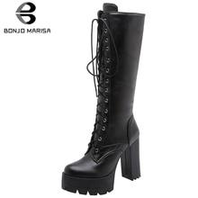BONJOMARISA New 34-43 Autumn Winter Cool Cross Tied Knee High Boots Women 2019 Fashion Platform Heels Shoes Woman