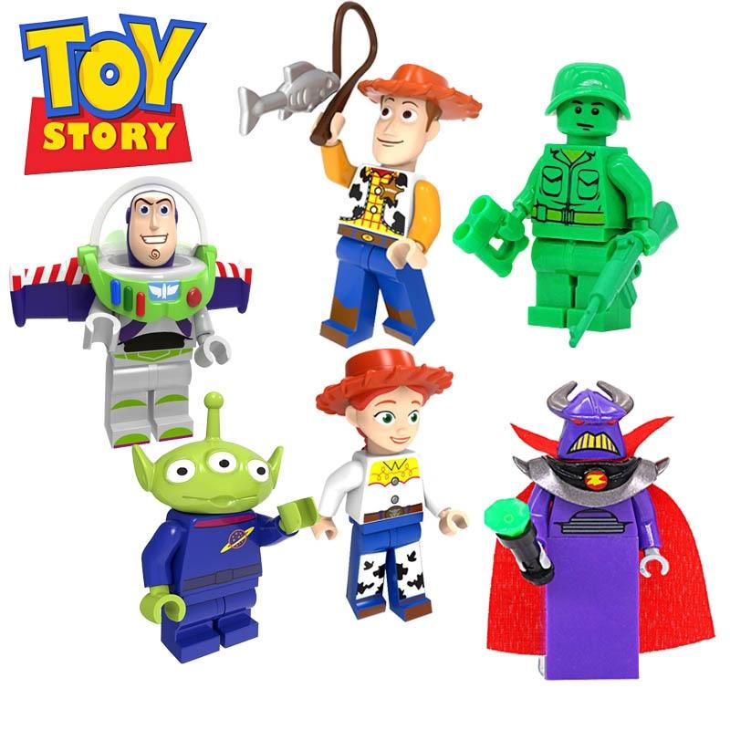 6Pcs Toy Story 4 Buzz Lightyear Woody Jessie Alien Sergeant Zurg Model Building Blocks Enlighten Action Figure Toys For Children