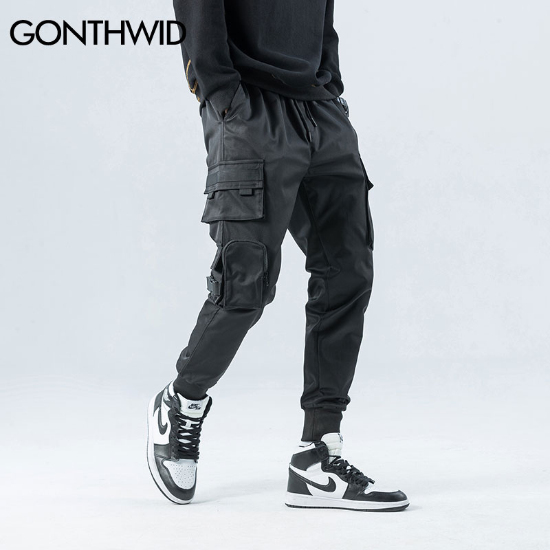 GONTHWID Side Zipper Pockets Cargo Harem Joggers Pants Men 2020 Hip Hop Casual Harajuku Streetwear Sweatpant Trousers Male Pants(China)