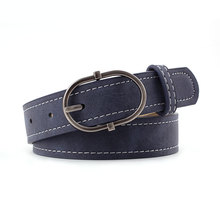 HUOBAO New Oval Metal Pin Buckle Belts For Women Black Frosted Leather Belt Dress Jeans Waistband ceinture femme
