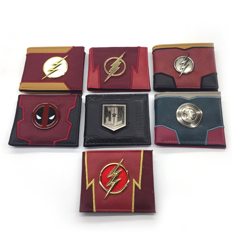 Comics Marvel Wallet Credit Card Holder Avengers Superhero Captain America Shield Faux Leather Bifold Wallet Money Bag