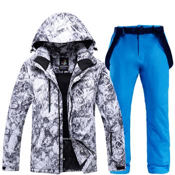Na zewnątrz mężczyźni kombinezon narciarski Super ciepłe kurtki zestaw zima śnieg spodnie garnitury mężczyzna narciarstwo snowboard odzież zestawy narciarstwo kurtki + spodnie tanie i dobre opinie ARCTIC QUEEN Suknem Pasuje mniejszy niż zwykle proszę sprawdzić ten sklep jest dobór informacji Men Male Polyester Acrylic COTTON