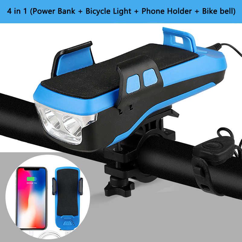 4 in 1 จักรยานผู้ถือโทรศัพท์ Power Bank Charger จักรยาน MTB Handlebar จักรยานฮอร์นเบลล์ไฟ LED ขาตั้งโทรศัพท์สำหรับ iPhone