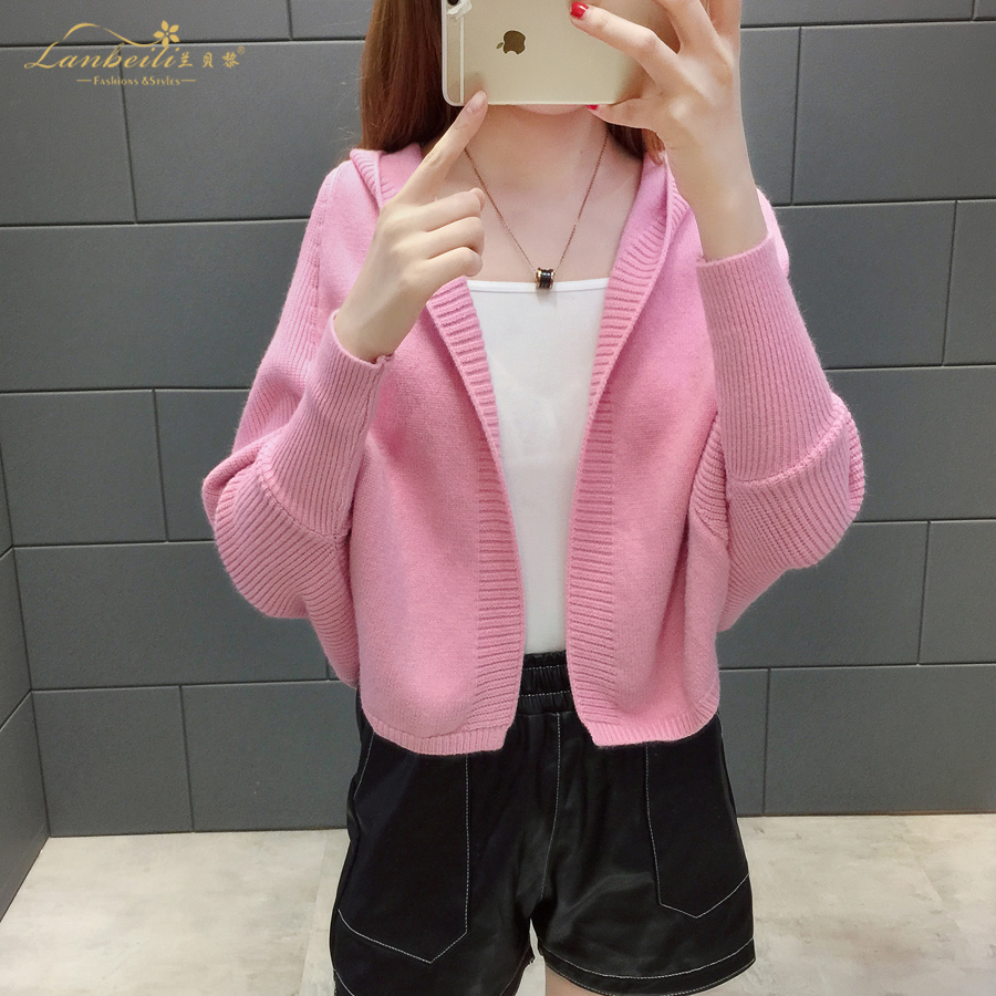 2019 Free send New style Korean loose and comfortable Autumn women Cardigan Sleeve of bat Hooded Sweater coat 103