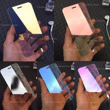 9H kolorowe lustro szkło hartowane Screen Protector dla iPhone X XR XS 11 Pro Max SE 2020 6 6S 7 8 Plus pełna klej folia ochronna tanie tanio DREAMYSOW TEMPERED GLASS CN (pochodzenie) Przedni Film Apple iphone