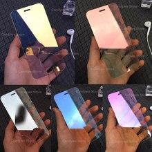Protector de pantalla de vidrio templado para iPhone, Protector de pantalla de vidrio templado con espejo colorido 9H para iPhone X XR XS 11 Pro Max SE 2020 6 6S 7 8 Plus