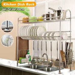 2 camadas de aço inoxidável pratos rack dupla pia dreno rack ajustável multi-uso cozinha organizador rack prato prateleira pia secagem rack
