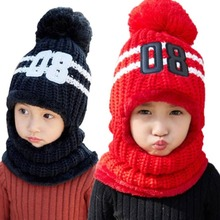 Fashion Children Hats Knitted Warm PomPom Fur Cap Protects Ear Bonnet Kids Winter Caps Scarf Set Outdoor Ski Caps Drop Shipping