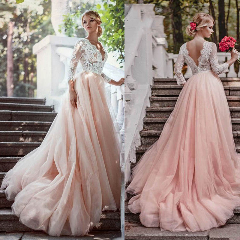 Long Sleeves Pink Wedding Dresses V Neck Lace Appliques Court Train A Line Open Back Bridal Married Gowns Vestidos de Noivas