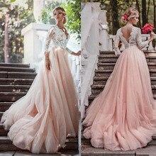 طويلة الأكمام الوردي الزفاف فساتين V الرقبة الرباط يزين المحكمة قطار خط عودة فتح زي العرائس Vestidos دي Noivas