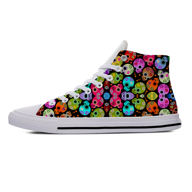 DAY OF THE DEAD SKULL HIGH TOP SHOES (11 VARIAN)