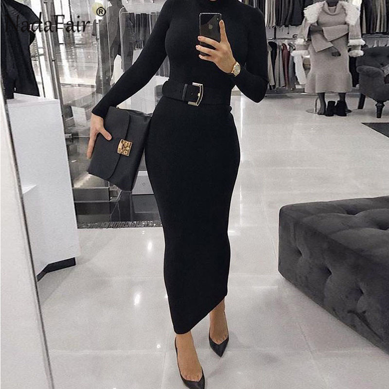 Nadafair Sexy Women Dress Long Sleeve Turtleneck Autumn Winter Solid Casual Basic Black White Bodycon Slim Maxi Dress For Women