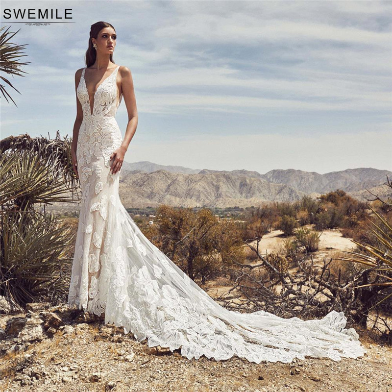 SWEMILE Romantic Lace Mermaid Boho Wedding Dress 2019 Robe De Mariee Sexy Backless Long Train Wedding Gowns Vestidos De Novia