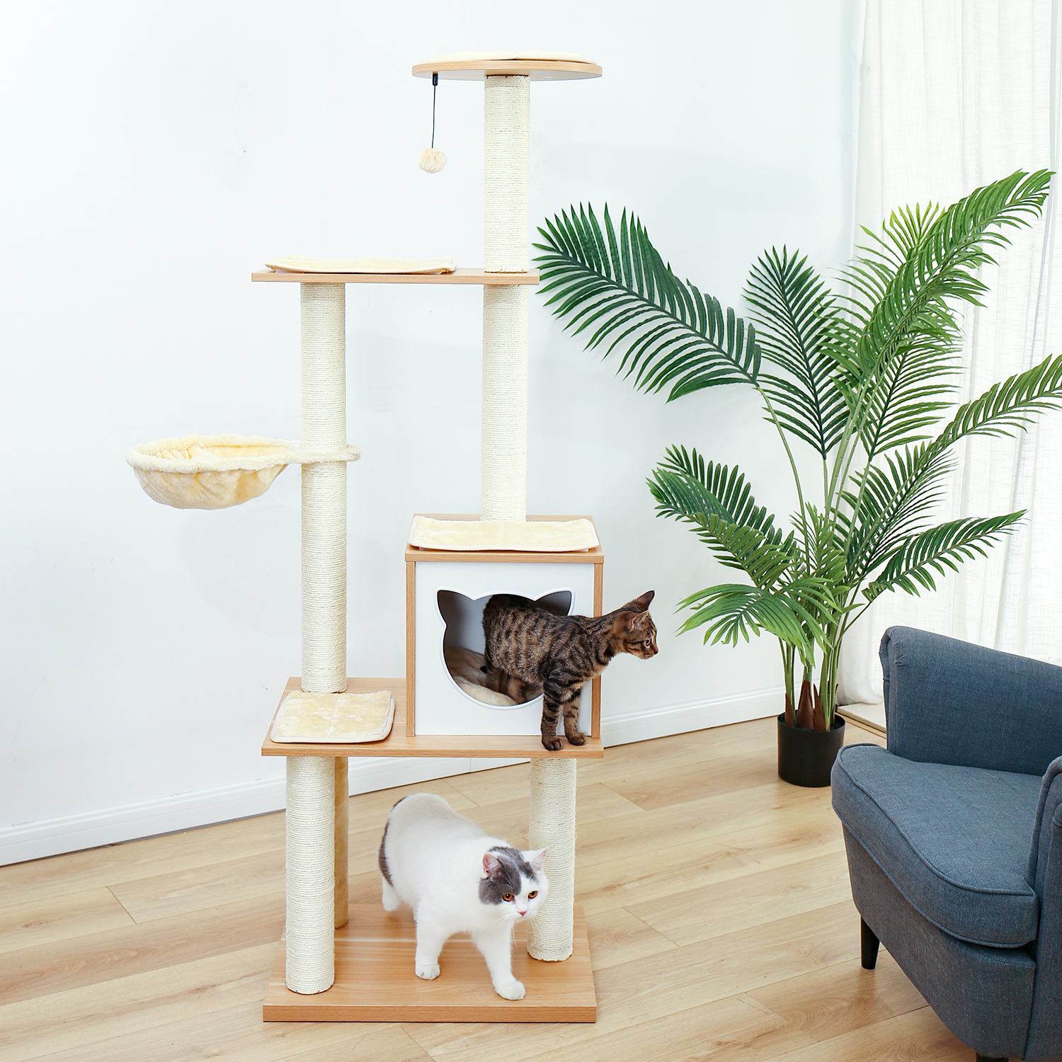 Fast Delivery Large Cat Tree Tower Condo cat scratcher Post Pet Kitty Play House with Hammock Perches Platform rascador gato