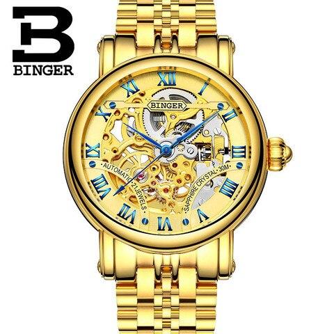 Relógios de Ouro para Mulheres dos Homens Marca de Luxo Relógio à Prova Água para os Homens Automático do Relógio de Pulso Binger Esporte Senhoras Masculinos Mechanica 2020 Top d'