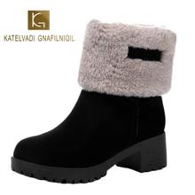 KATELVADI Women Snow boots Black Flock Non-slip Thick Plush Winter Boots Platform Waterproof and Warm Shoes Plus 35-40 K-593