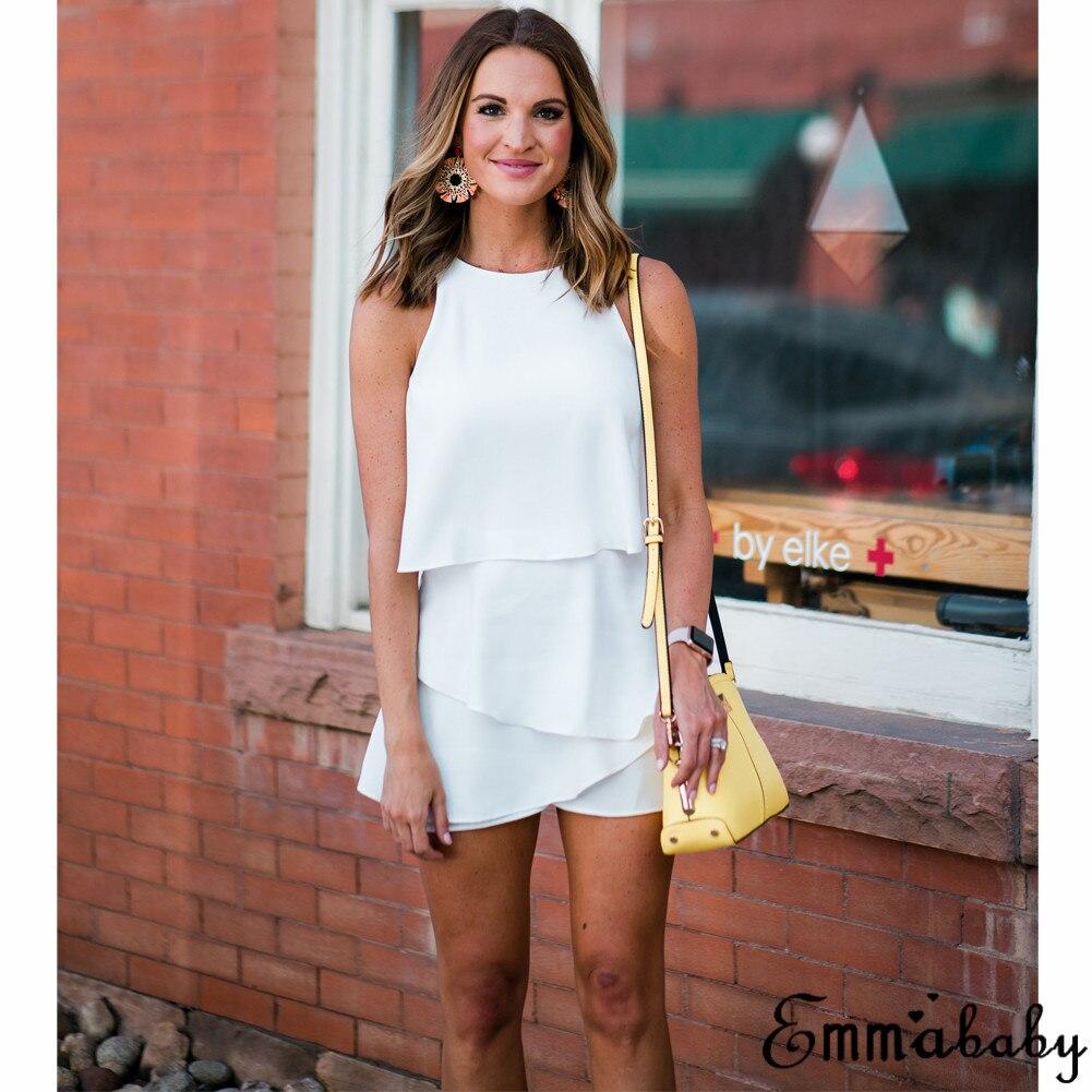 Women Office Lady Elegant Palysuit Summer Chiffon SleevelessO-Neck  Ruffles High Street Overalls Jumpsuits