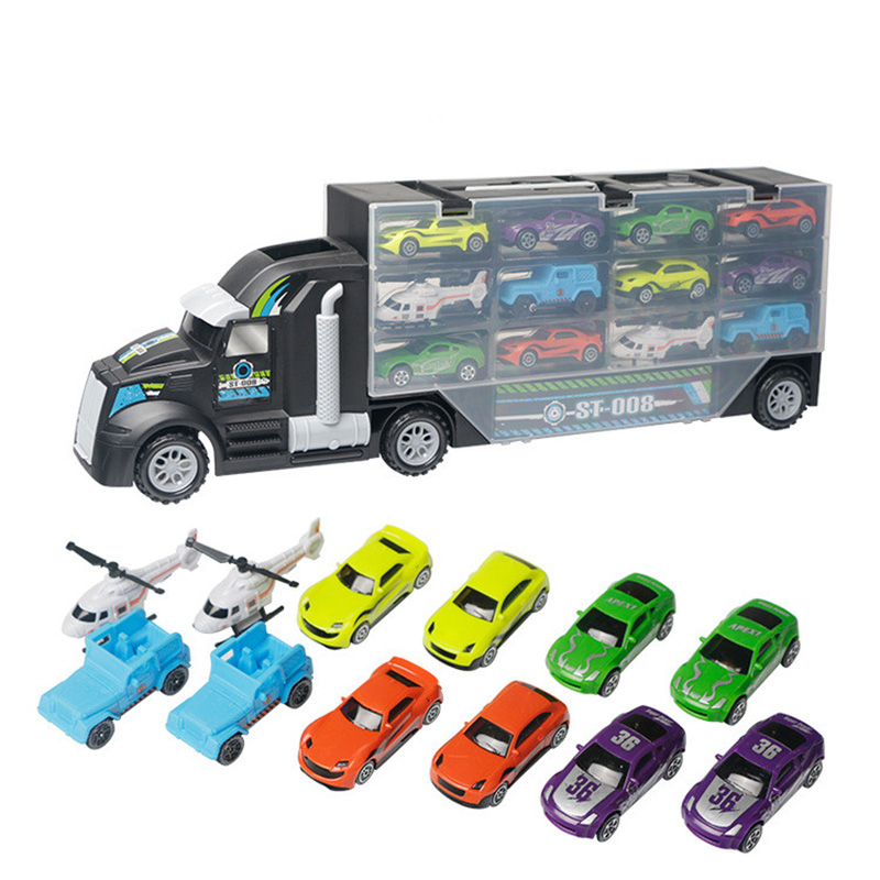 13Pcs/Set Transport Car Carrier Truck Boys Toy (Include Alloy 10 Car And 2 Helicopters Toy Vehicles For Kid Children Fired Truck