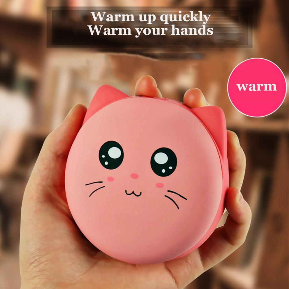 Cute Cat Pocket Heater Hand Warmer 4000mAh Electric Rechargeable Phone Power Bank Charger Kawaii