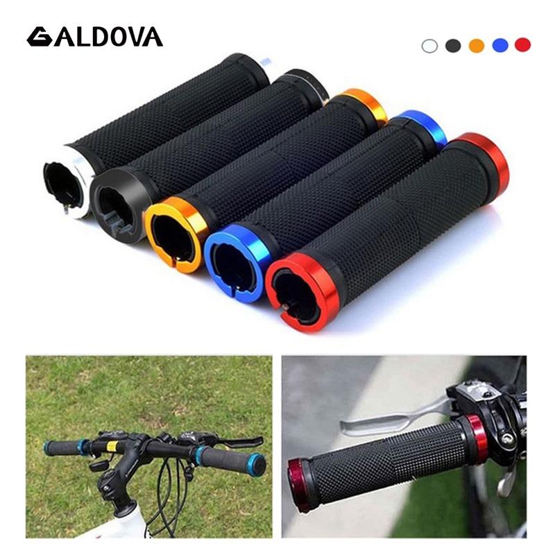 1 Pair Manopole E Grip Con Blocco di Gomma E Lega di alluminio Non-Slip Dritto Tipo di Strada Maniglia Della Bici parti di Biciclette Bmx MTB Polsini