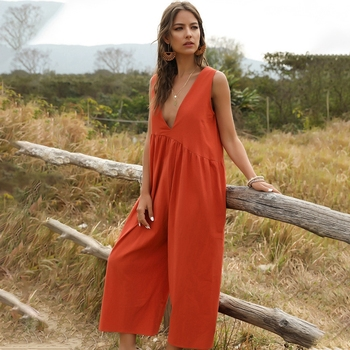 women sexy spaghetti strap sleeveless wide leg jumpsuit summer elegant solid casual rompers pockets playsuits loose overalls Fashion Loose Solid Overalls women summer 2020 Street style women jumpsuits casual sleeveless wide leg rompers pocket playsuits