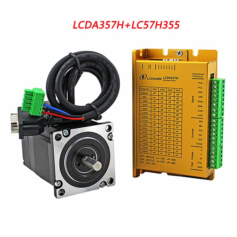 3phase Stepper Motor Driver Kit 3NM NEMA23 Cnc Closed Loop Servo With Encoder LCDA357H+LC57H3100 With 3m Cable