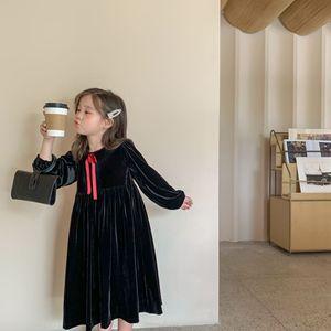 Image 2 - Jesień nowe 2020 sukienki dla dzieci dla dziewczynek ubrania dla dzieci Princess Dress eleganckie dzieci Midi sukienka maluch Party Dress Velvet,#5404