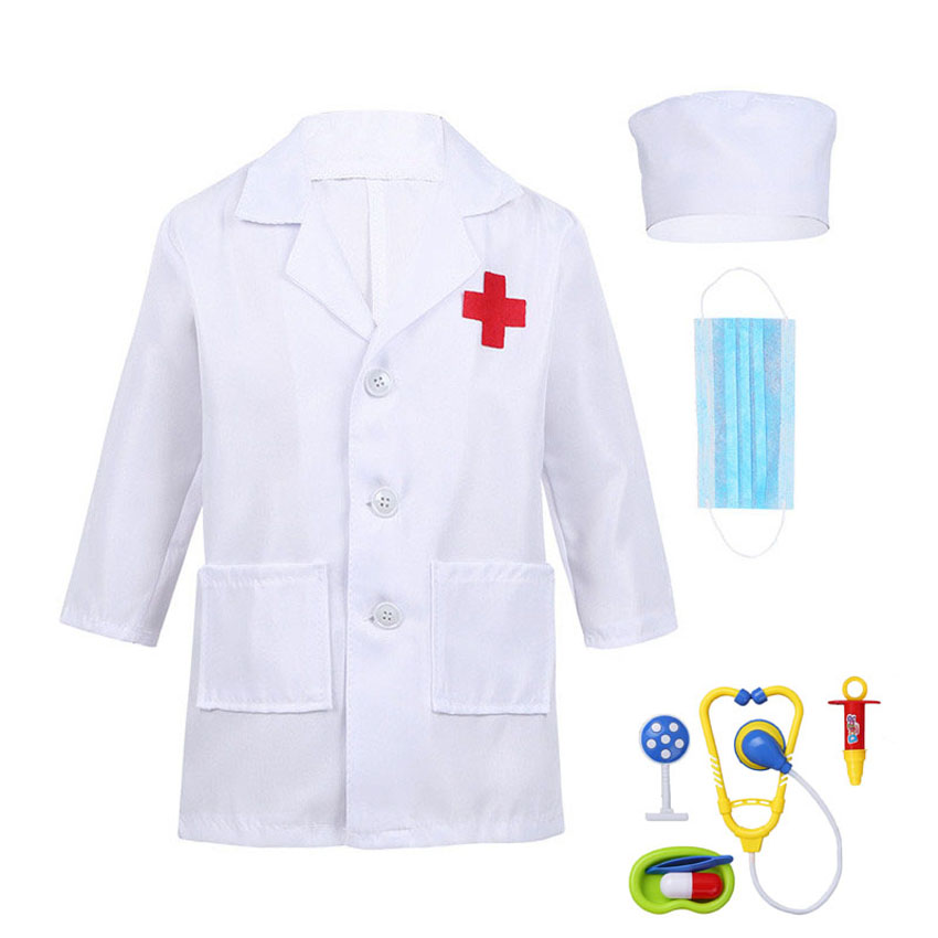 Children Boys Doctor Cosplay Costumes Halloween Carnival Birthday Gift Kids Girls Hospital Lab Medical Uniform Nurse Gown