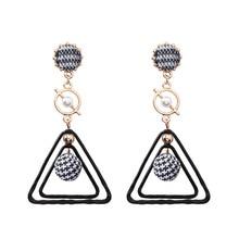 European and American personality long geometric triangle earrings Korean autumn winter temperament ear drop atmospheric earring