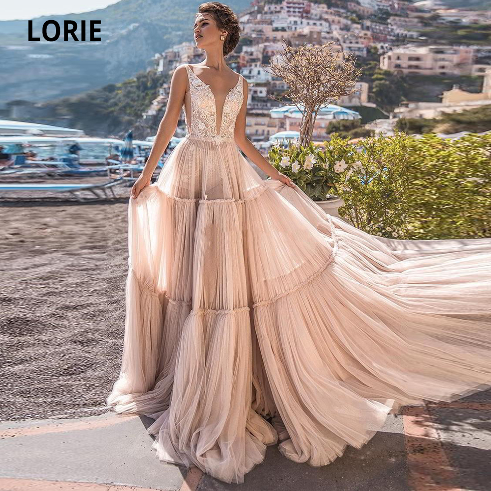 LORIE A Line Sleeveless Beach Wedding Dresses Boho Lace V-Neck Bohemian Bridal Gowns Floor Length Open Back Tulle Wedding Gown