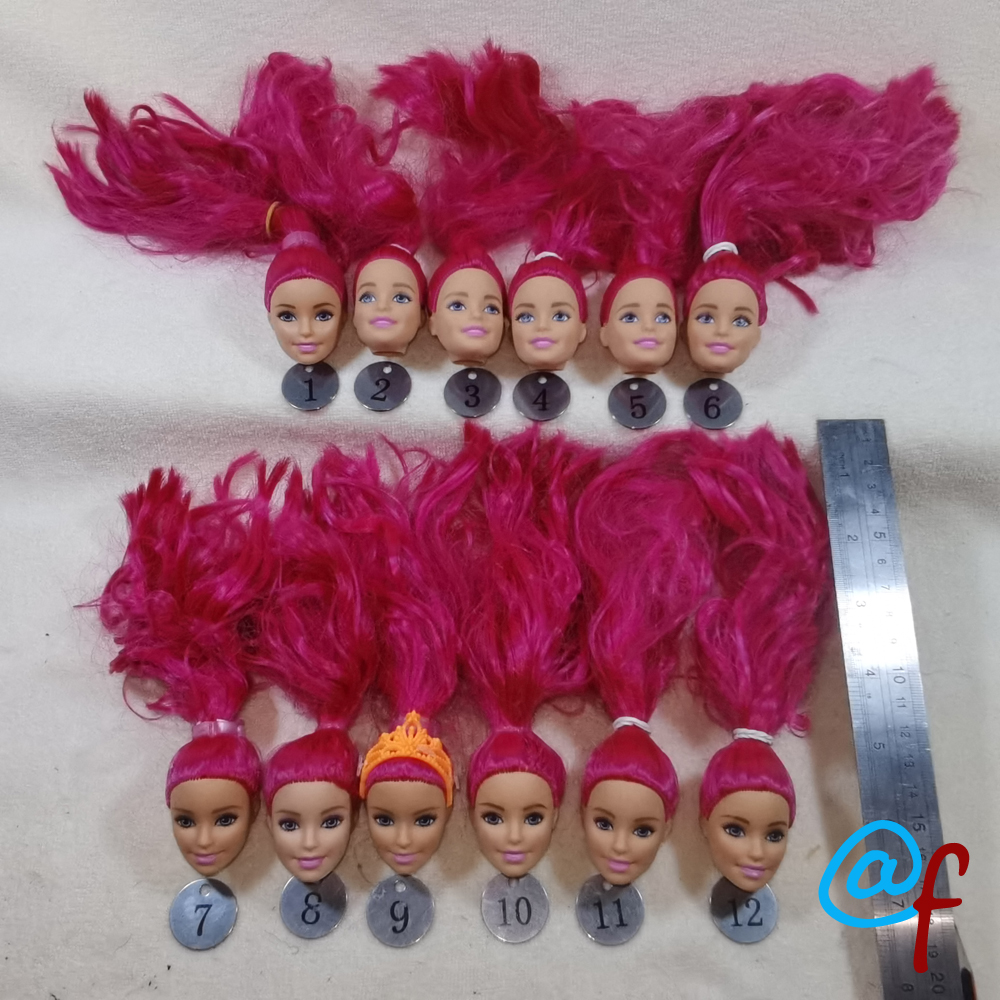 B20-8 Original Foreign Trade European Beauty1/6 OOAK NUDE Doll Head Mussed RED Hair For DIY Soft PVC Head  90%NEW