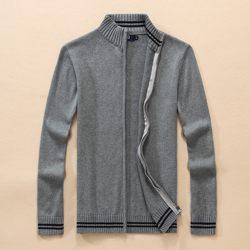 Men High Quality Big Pony Zipper 100%cotton Knitted Sweater Autumn Winter Jersey Jumper Hombre Pull Homme Hiver Sweaters