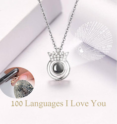 Personal choker Necklace 100 Languages I Love You Valentine's Day Present Memory Projection gold layered Chain necklace jewelry