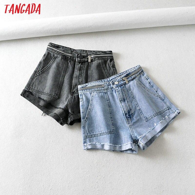 Tangada Women Summer Denim Shorts Zipper High Waist Pockets Casual Streetwear Ladies Short Jeans Pantalone 2A04