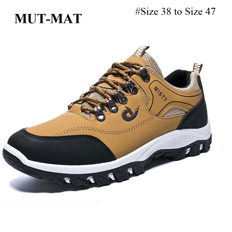 Spring And Autumn Man Sports Shoes Casual Wearable Hiking Sneakers Male Non-slip Running Quality Leather Shoes Large Size 47