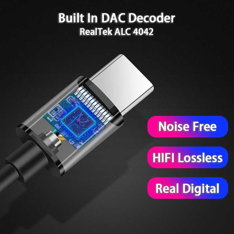 معدن USB نوع C إلى 3.5 مللي متر الرقمية محول صوت DAC 32bit 384 كيلو هرتز فك AUX محول ل نوت 10 باد برو OnePlus بكسل هواوي