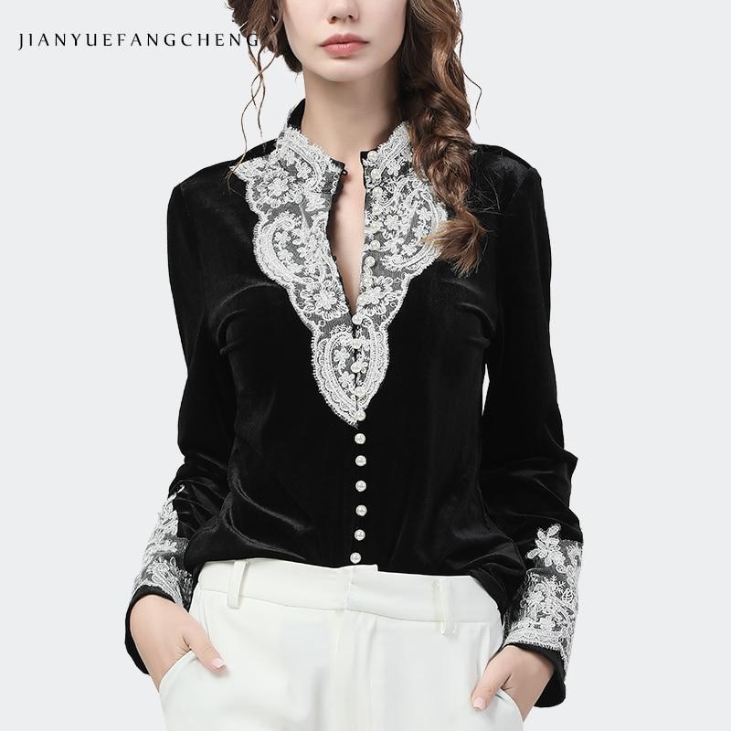 High Quality Black Velour Women' Shirt 2020 Autumn New Long Sleeve White Lace Appliques Pearls Beaded Fashion Korean Blouses