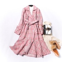 Plaid Wool Coat Women Winter Belt Pink Woolen Overcoat Windproof Warm Elegant Autumn Ruffle Swallow Tail Designer Vintage Coat