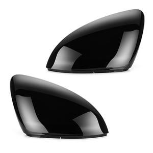 Image 1 - 2 قطع ل VW Golf 7 MK7 7.5 GTD R GTI Touran L E GOLF الجانب غطاء لمرايات السيارة الجانبية قبعات مشرق الأسود مرآة الرؤية الخلفية الغلاف